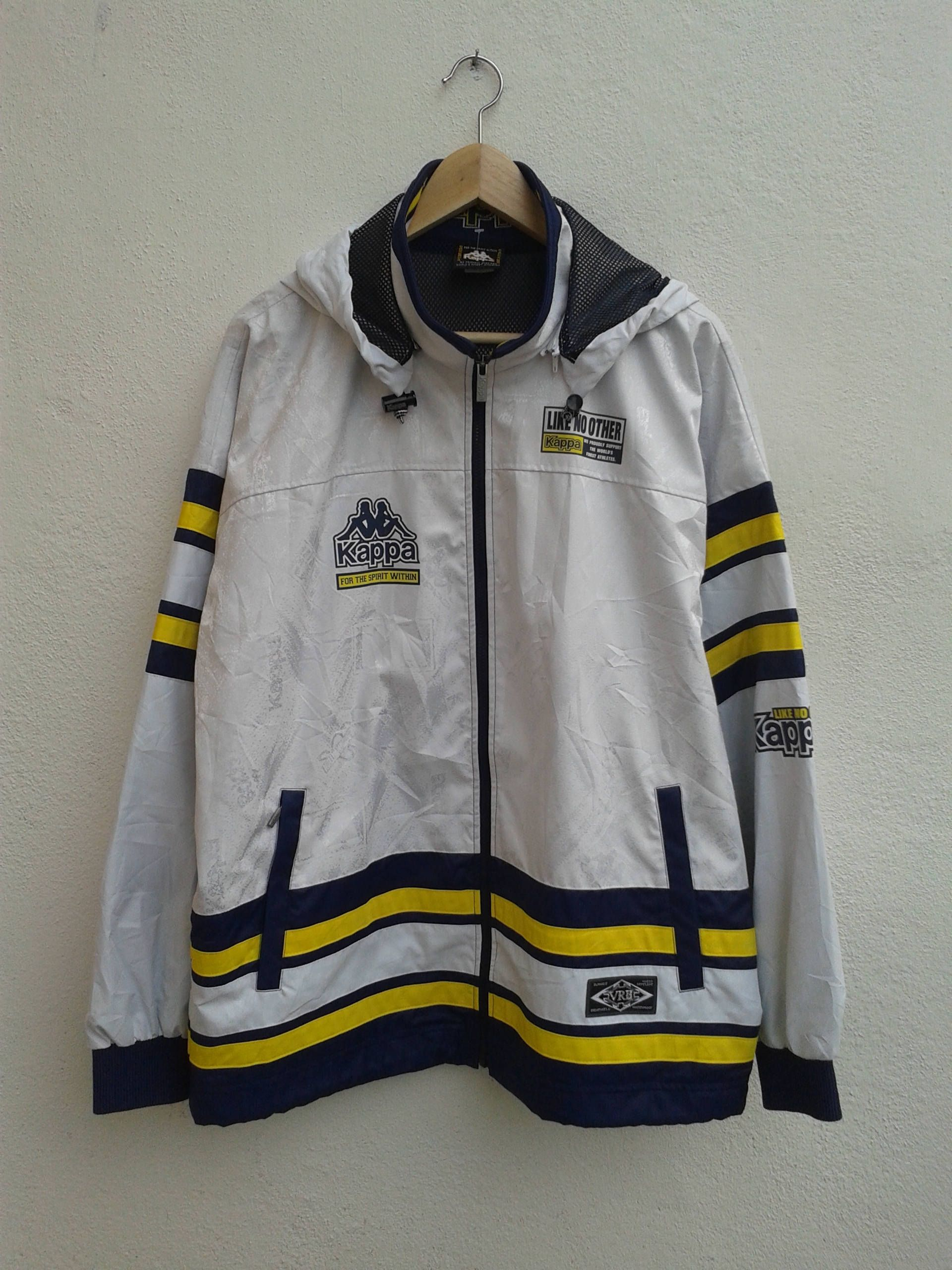 3b99b43af Vintage 90s KAPPA Giant Logo Color Cross Stripes Running Windbreaker  Streetwear Style Hoodies Jacket Size O by BubaGumpBudu on Etsy