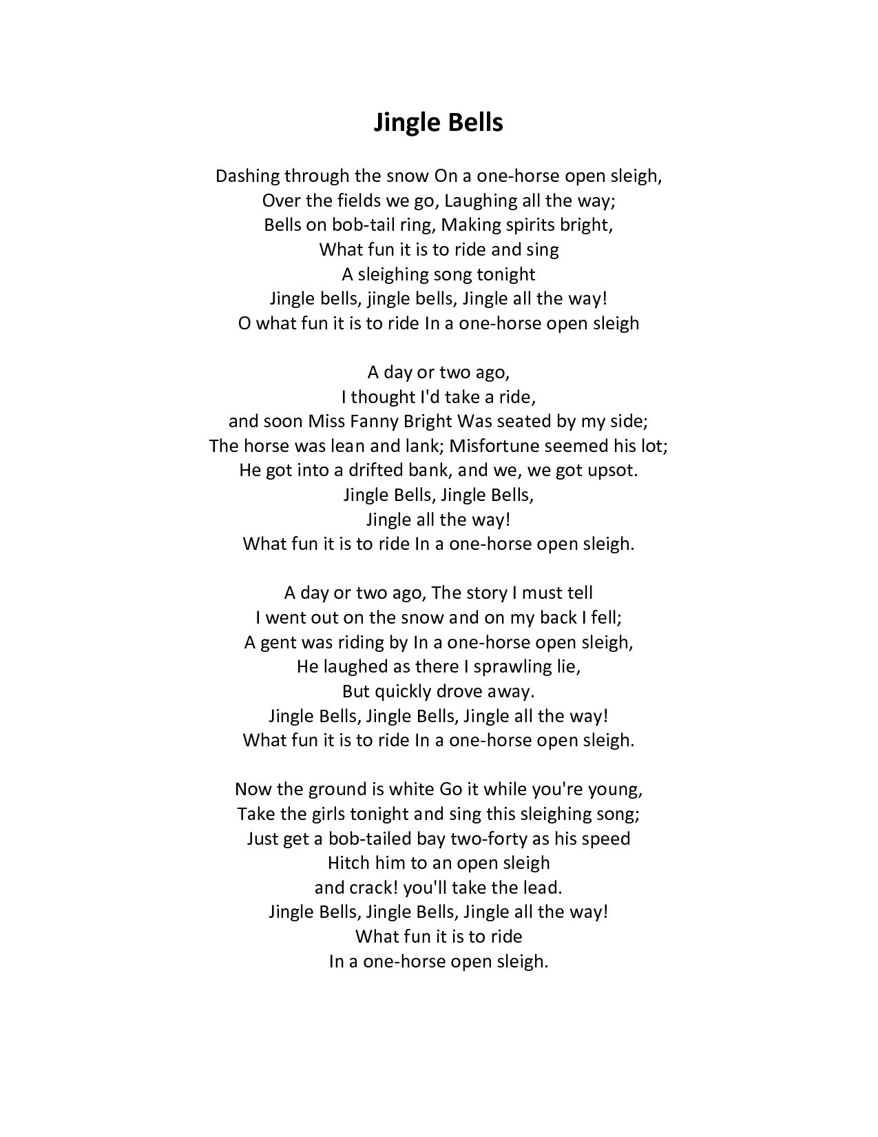 Jingle Bells - Lyrics! | Jingle bells lyrics, Making spirits bright, One horse open sleigh