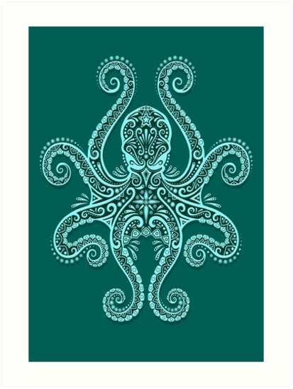 Photo of 'Intricate Teal Blue Octopus' Art Print by jeff bartels