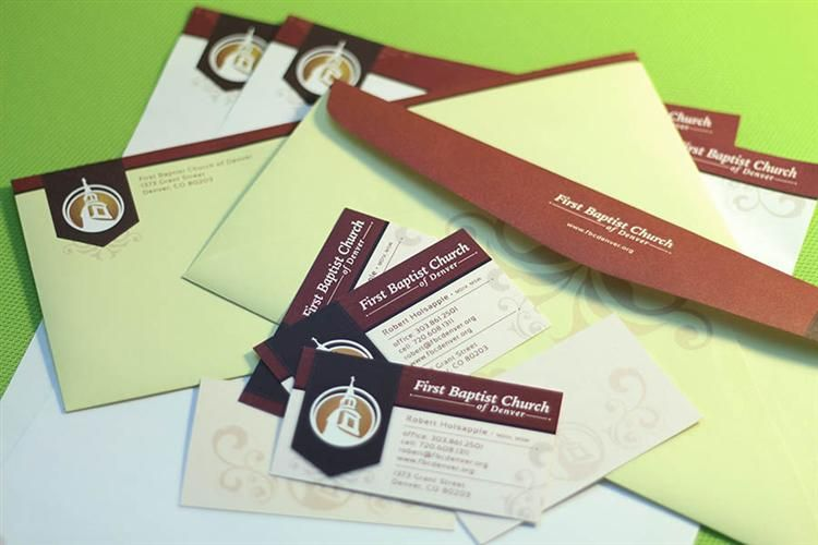 Business cards envelopes and letterhead for First Baptist Church