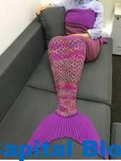 Stylish Crochet Knitted Super Soft Mermaid Tail Shape Blanket For Adult GREEN