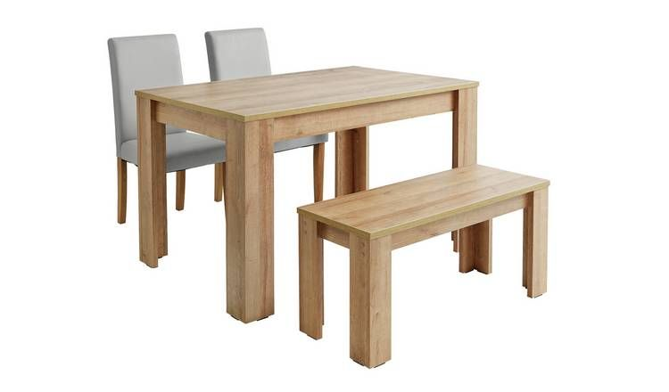 Buy Argos Home Miami Oak Effect Table Bench 2 Grey Chairs