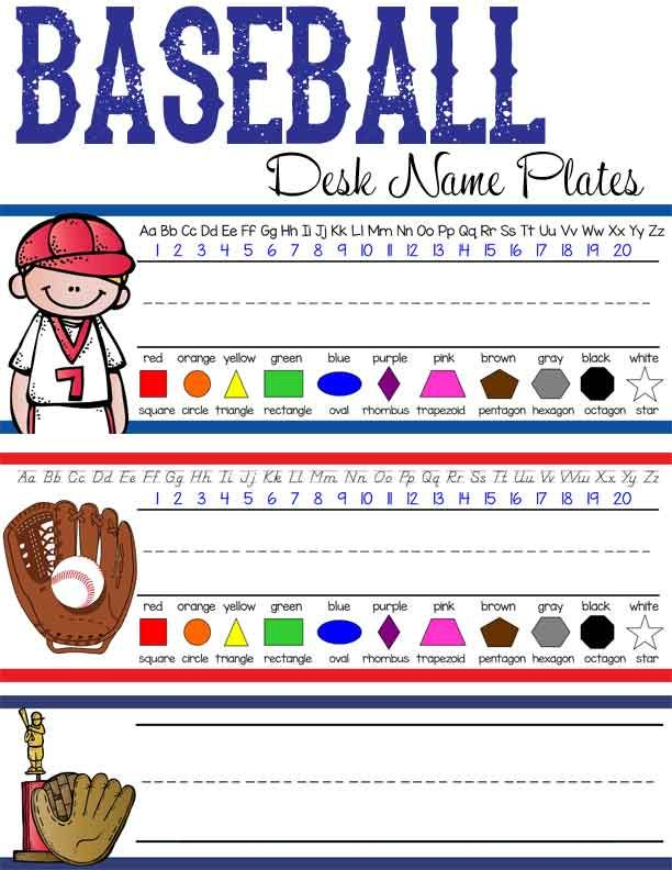 Baseball Theme Clroom Decor Student Desk Name Plates You Personalize Abc Print D Nealian Mcript Artrageous Fun Graphics By Melonheadz