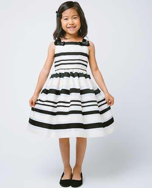 Ivory Black Striped Formal Dress Tea Length Girls Dresses