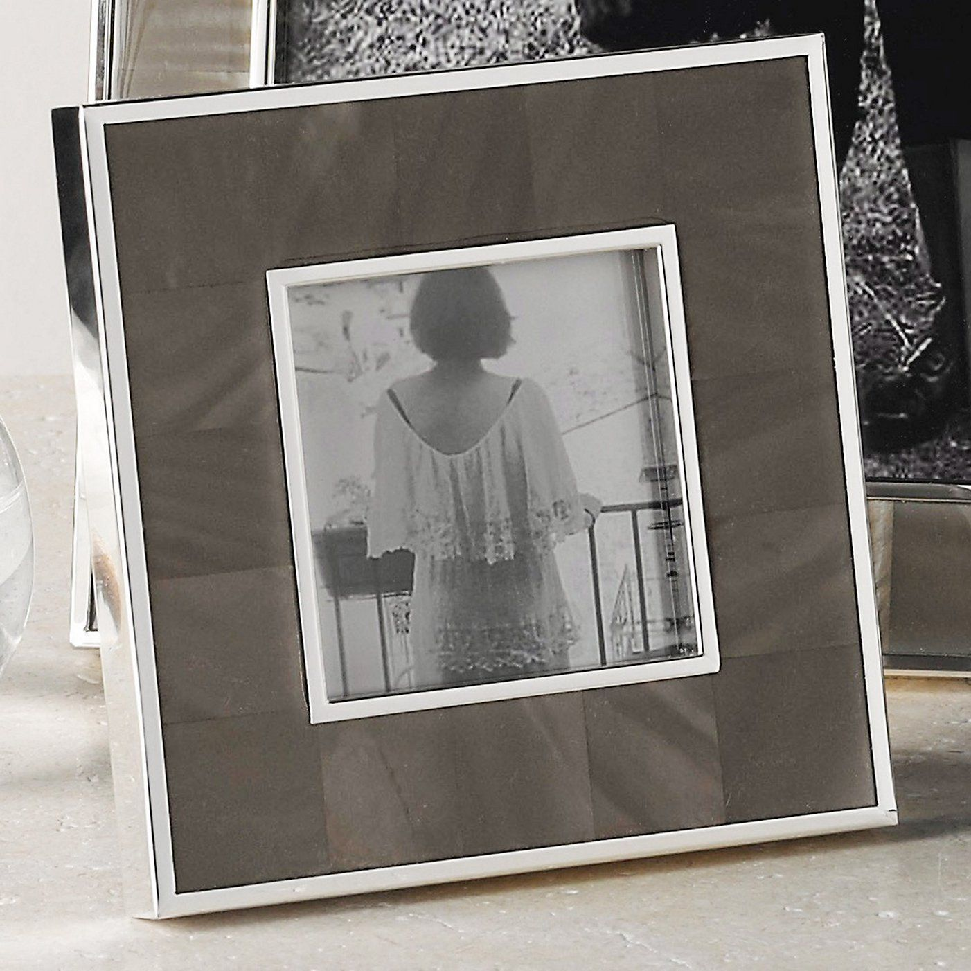 Mother Of Pearl Photo Frame 3x3 Quot Charcoal The White