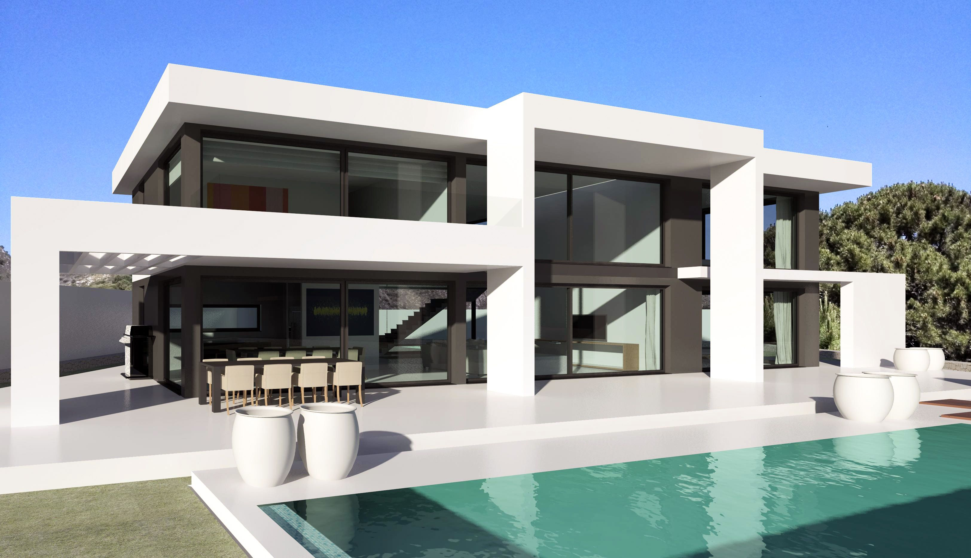 Modern turnkey villas in spain france portugal for Maison ultra minimaliste
