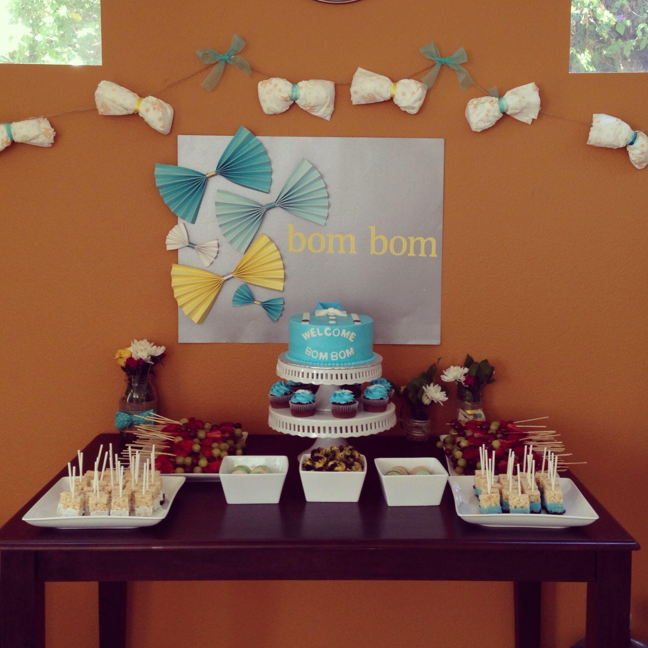 Bowtie Baby Shower Dessert Table.