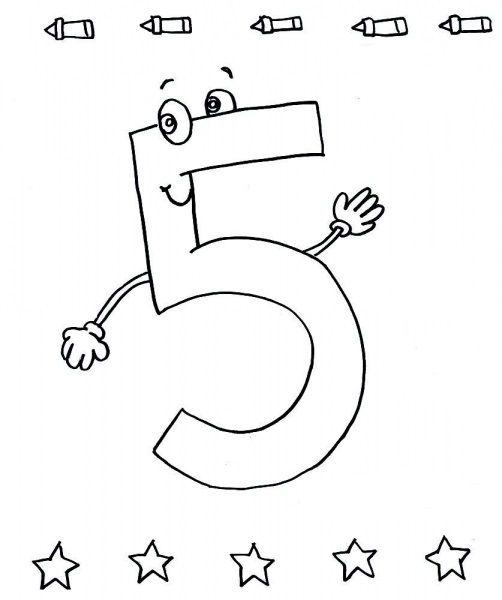 5 Sayısı Rakamı Boyama Sayfaları Rekenen Kleuters En 1 Lj