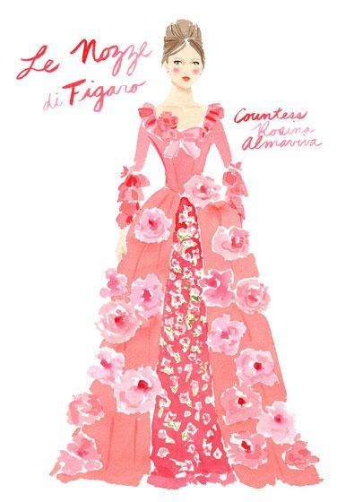 Deborah Lloyd for Kate Spade - The Marriage of Figaro | Designers Sketch Their Fantasy Opera Costumes (2011)