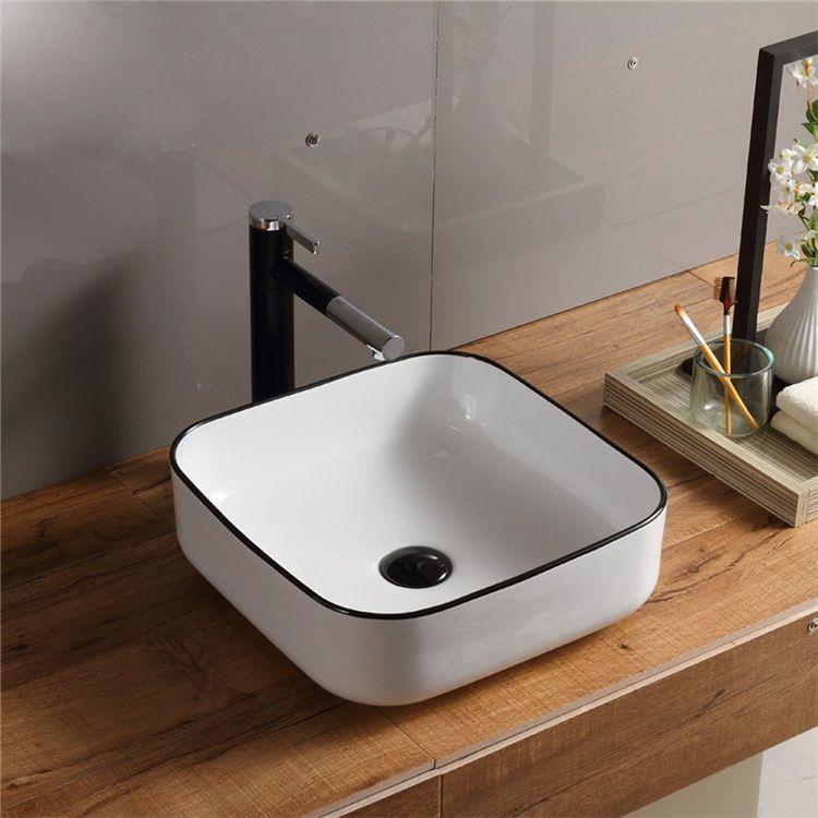 洗面ボール 手洗い鉢 手洗器 洗面ボウル 洗面器 陶器 角型 白色 排水栓