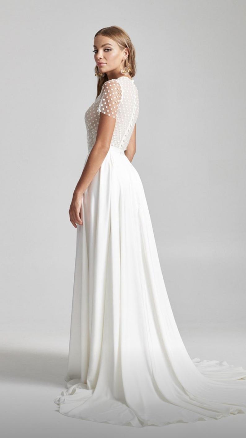 Daisy Jewel Neck Short Sleeved Wedding Dress Short Sleeve Wedding Dress Wedding Dresses Dresses [ 1412 x 794 Pixel ]