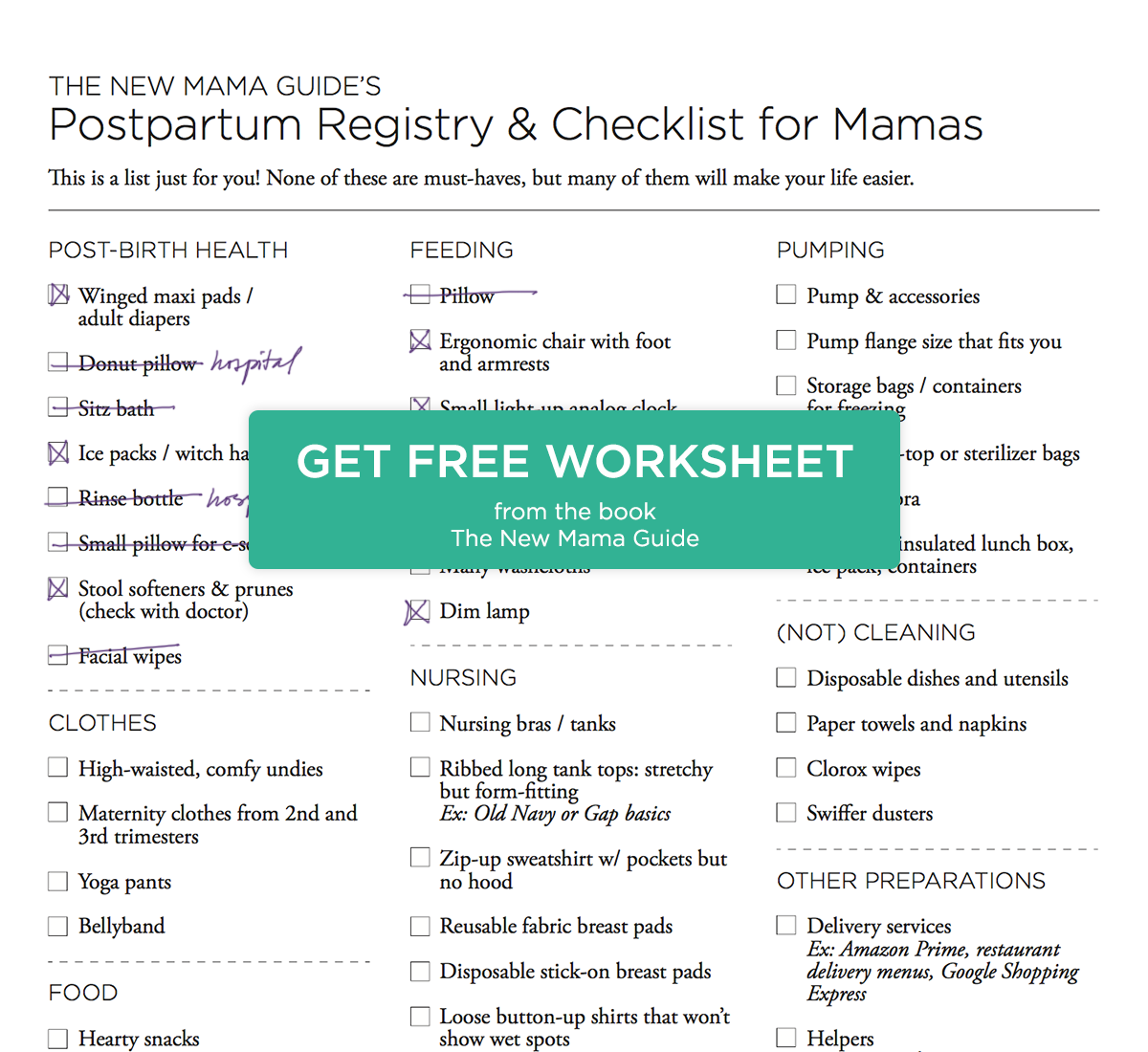 Postpartum Registry And Checklist Worksheet From The New