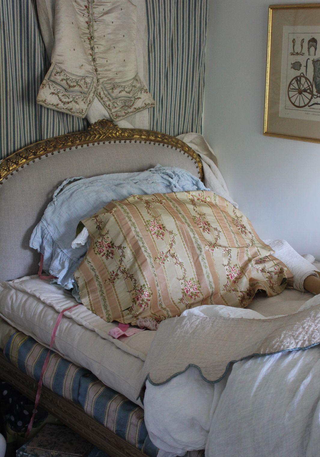 Vintage French Linens- 18th century peach stripe silk floral, blue & ecru mattress ticking: Trouvais.com