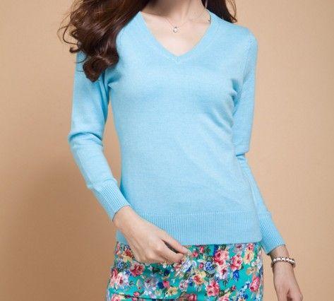 Dámský elegantní svetr modrý – dámské svetry + POŠTOVNÉ ZDARMA Na tento  produkt se vztahuje nejen bf611fb124