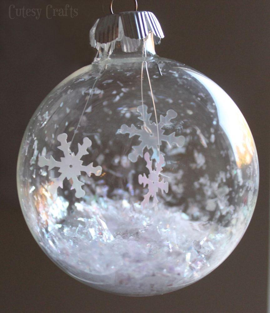Glass Ball Snowflake Ornament Cutesy Crafts Christmas Ornaments Glass Christmas Ornaments Christmas Ornaments To Make