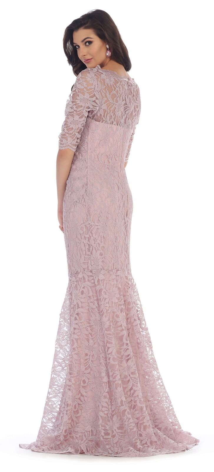 This Stunning Floor Length Dress Features 3 4 Sleeve With Sweetheart Neckline And Lace Material Perfe Mermaid Evening Dresses Dresses Plus Size Formal Dresses [ 1600 x 727 Pixel ]