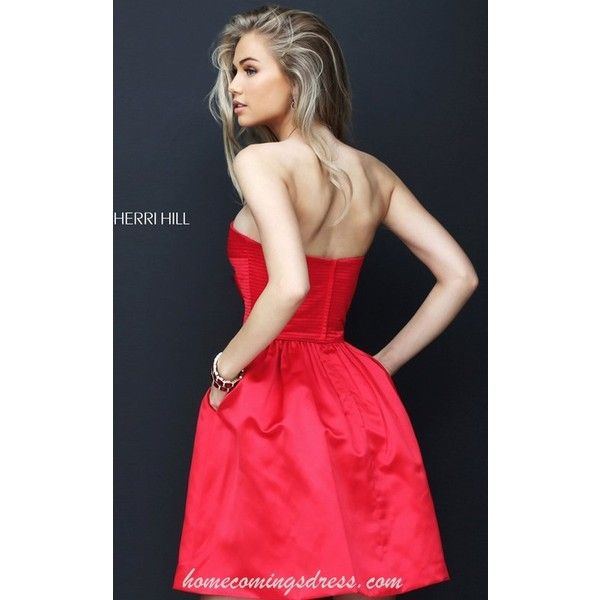 A Line Sherri Hill 50547 Short Strapless Red Carpet Dress 2016 ❤ liked on  Polyvore featuring
