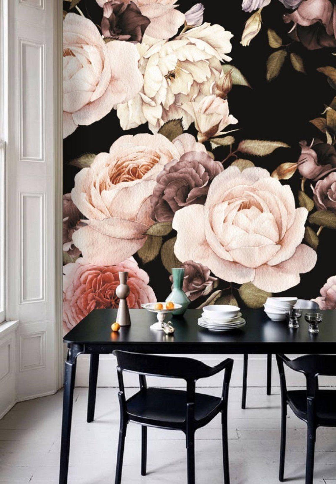 Dark Floral Wallpaper Peel And Stick Pink Roses Pattern Flowers