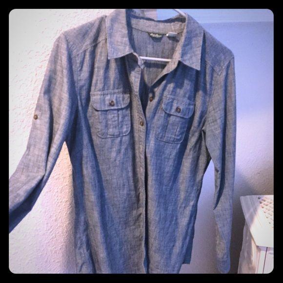 Denim long sleeve shirt Denim blouse Eddie Bauer Tops Button Down Shirts