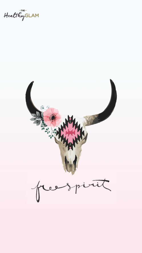 Free Spirit Iphone Wallpaper Cow Skull With Flowers Ideas De