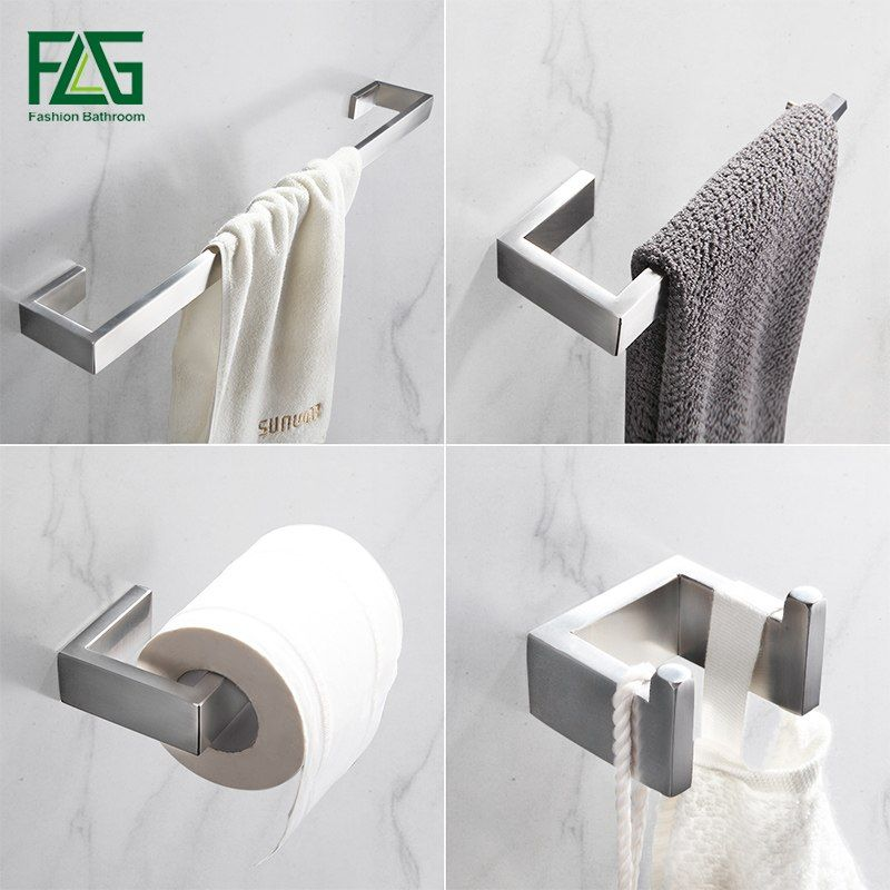 Flg 304 Stainless Steel Brushed Nickel Wall Mount Bath Hardware Sets Towel Bar Robe Hook Paper Holder Bathro Luxury Towels Towel Rack Bathroom Accessories Sets