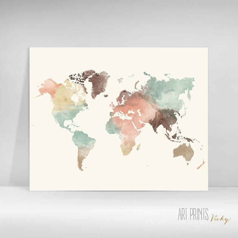 This Unique Watercolour World Map Poster With Pastel Colours Will