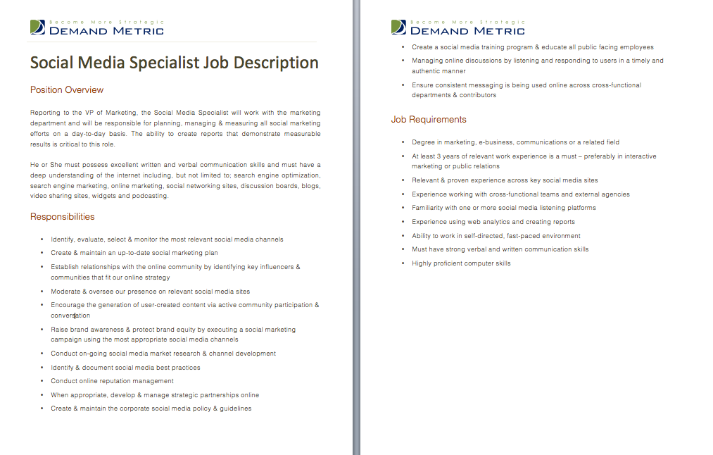 Social Media Specialist Job Description A Template To Quickly Document The Role And Responsibilities Media Specialist Job Description Template Marketing Jobs