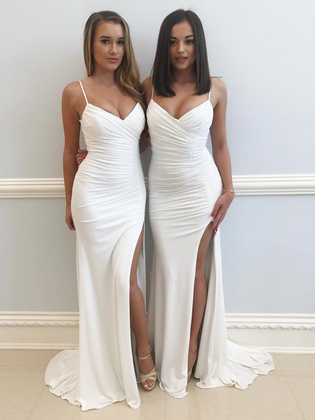 Sexy mermaid spaghetti straps high slit long white prom evening