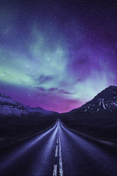 Driving towards the shining lights, Alaska   Dominic Kamp