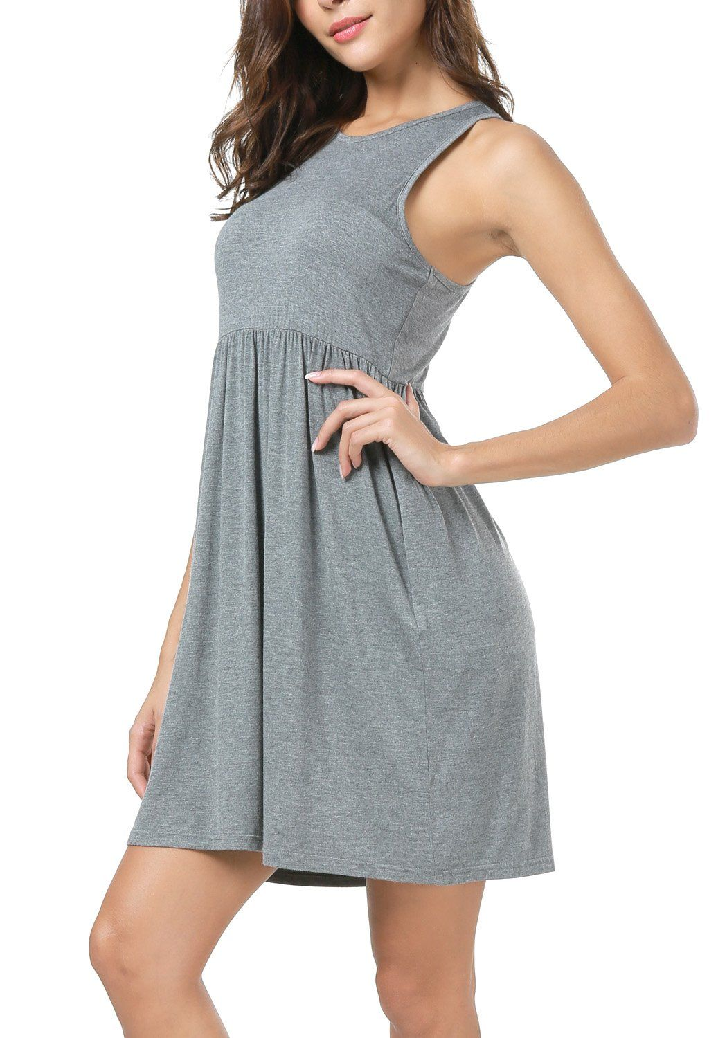 Lainab Womens Raceback Tank Plain Short Pleated Flowy Casual Dress Dark Gray Xl Details Can Be Found By Clicking On T Flowy Dress Casual Casual Dress Fashion [ 1500 x 1050 Pixel ]