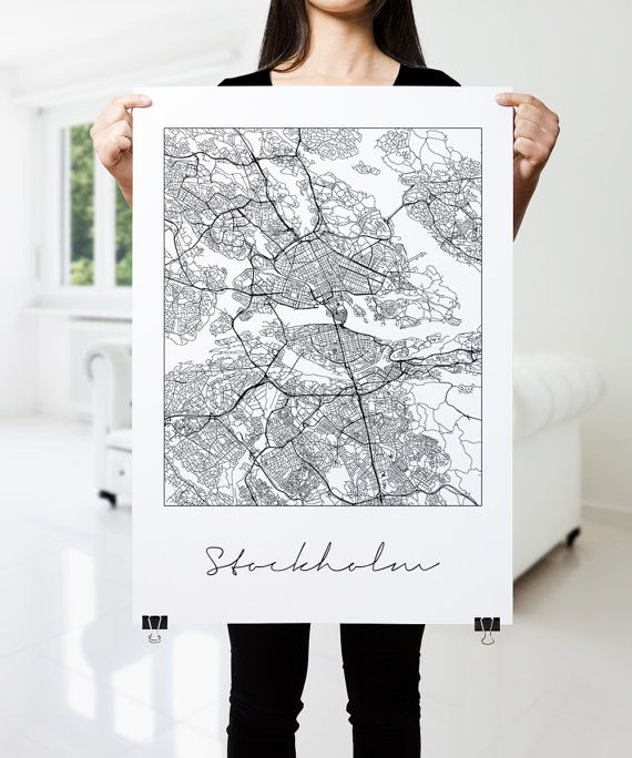 Stockholm Map Print Fine Art Print Modern Minimal by PFposters