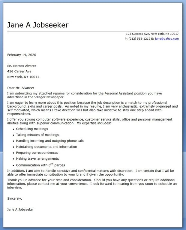 Personal Assistant Cover Letter Sample | Cover Letter for Resume ...