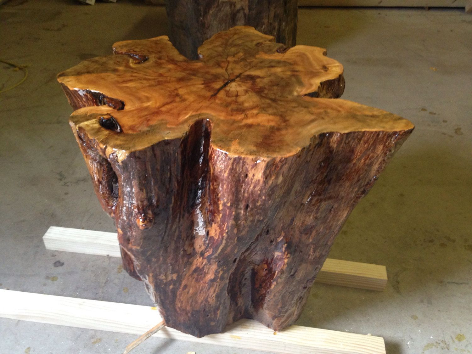 Live edge tables tree stump table tree stump by for Stump furniture making