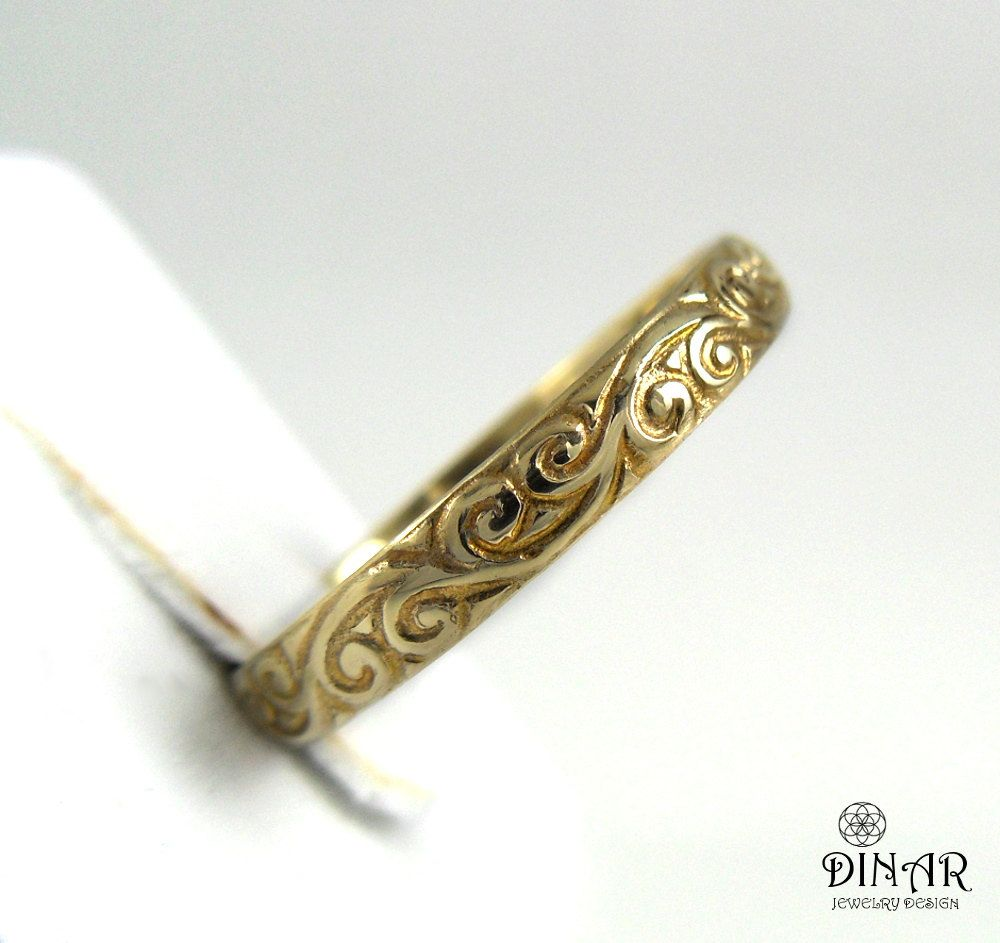 sterling detail ring silver original yellow by product with band thin bands wedding tlk gold