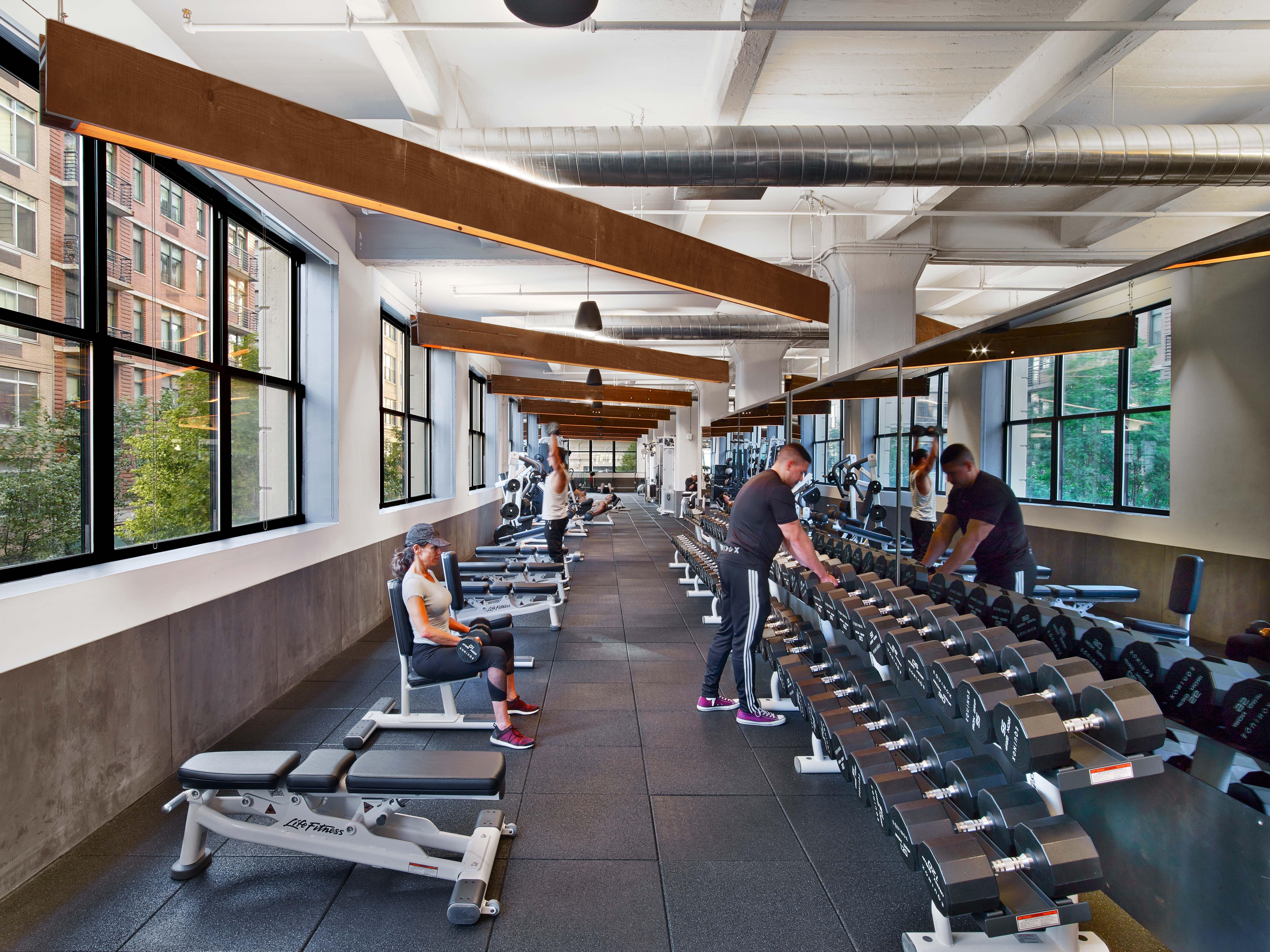 Equinox Fitness Dumbo Brooklyn Concrete Interiors Architecture Design Wellness Design