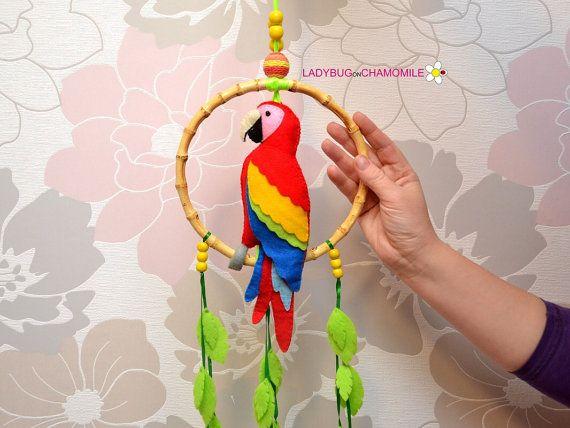 Hanging Parrot Macaw Felt Parrot Home Decor By Ladybugonchamomile