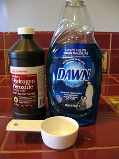 Ultimate Spot & Stain Remover!   Blogger stated works on dried on stains-removes blood and just about everything    You will need:  1 part Dawn Dish Detergent  2 parts Peroxide  just mix up enough for your stain, peroxide should be fresh when you use it or it loses its bubbling power the longer it sits...    For more scrubbing power,  add some Baking Soda