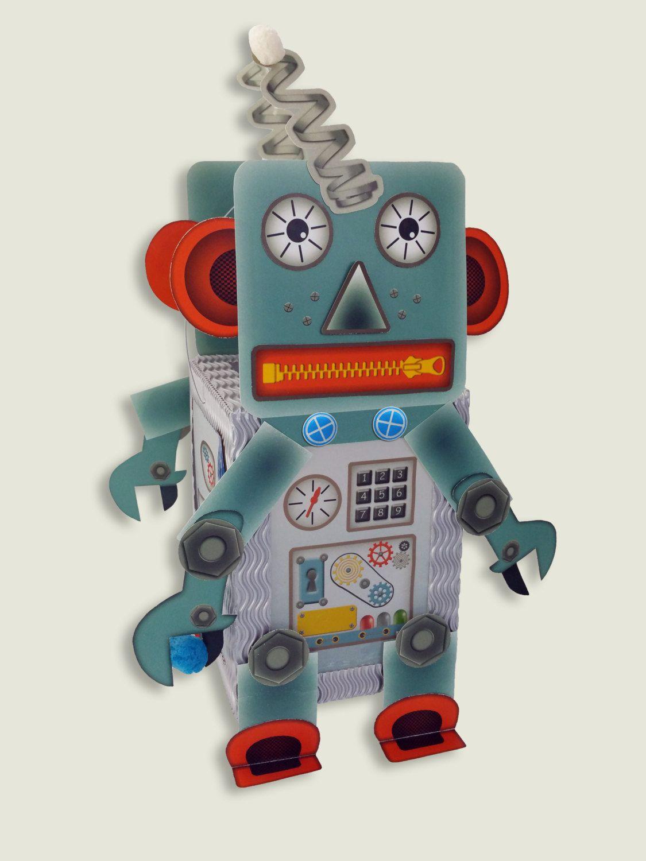 lantern paper craft kit set robot android for childrens birthdays halloween decoration make