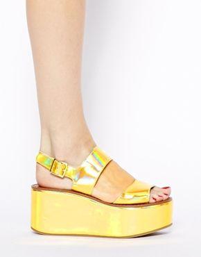 Image 4 ofRiver Island Gold 2 Strap Flatform Mid Heeled Sandals