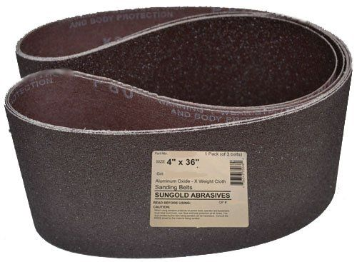 3 Pack 4 X 36 Inch 100 Grit Silicon Carbide Sanding Belts