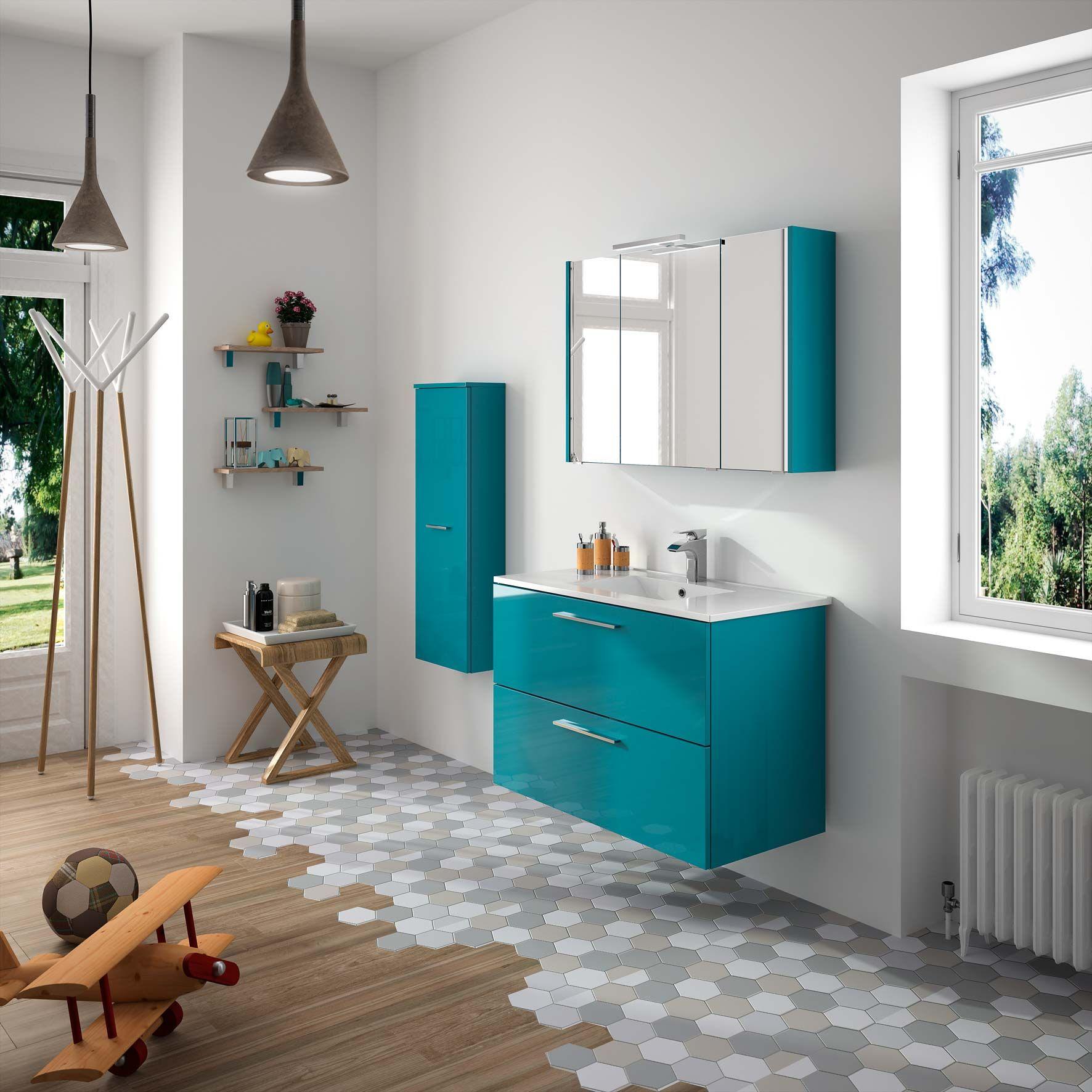 Meubles de salle de bains cedam gamme laura d cor bleu Customiser un meuble de salle de bain