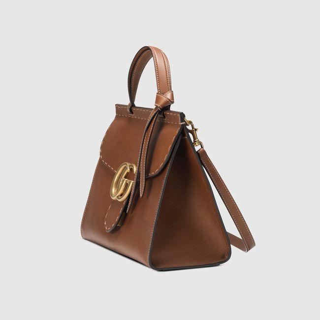 e16398eaf380 Gucci - Sac à main GG Marmont en cuir - marron   Gucci collections ...