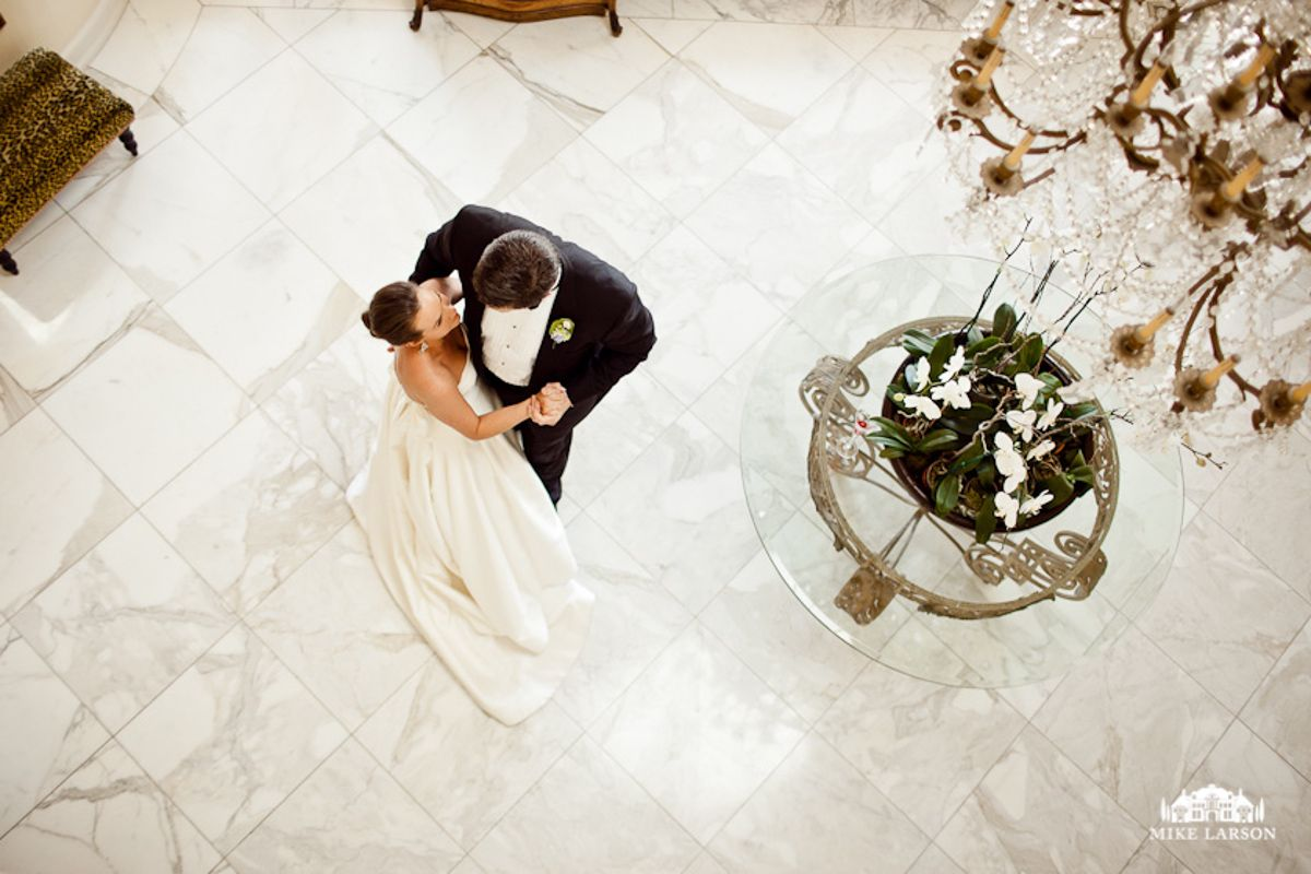 Bride & Groom's First Dance at their Private Estate Wedding. Photo By Mike Larson Photography