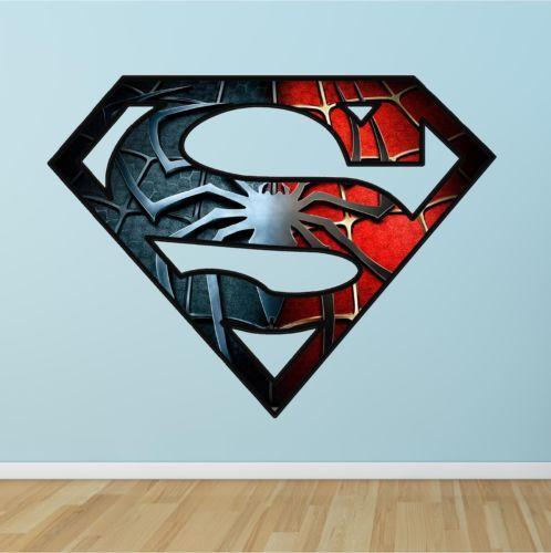 Unique Batman Vs Superman Bedroom Ideas That Rock: Superman Spiderman Logo Super Hero Full Colour Print Wall
