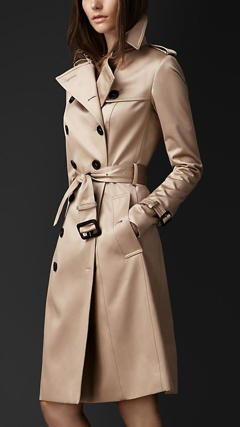 klassiker mittellanger trenchcoat aus baumwollsatin burberry fashion pinterest. Black Bedroom Furniture Sets. Home Design Ideas