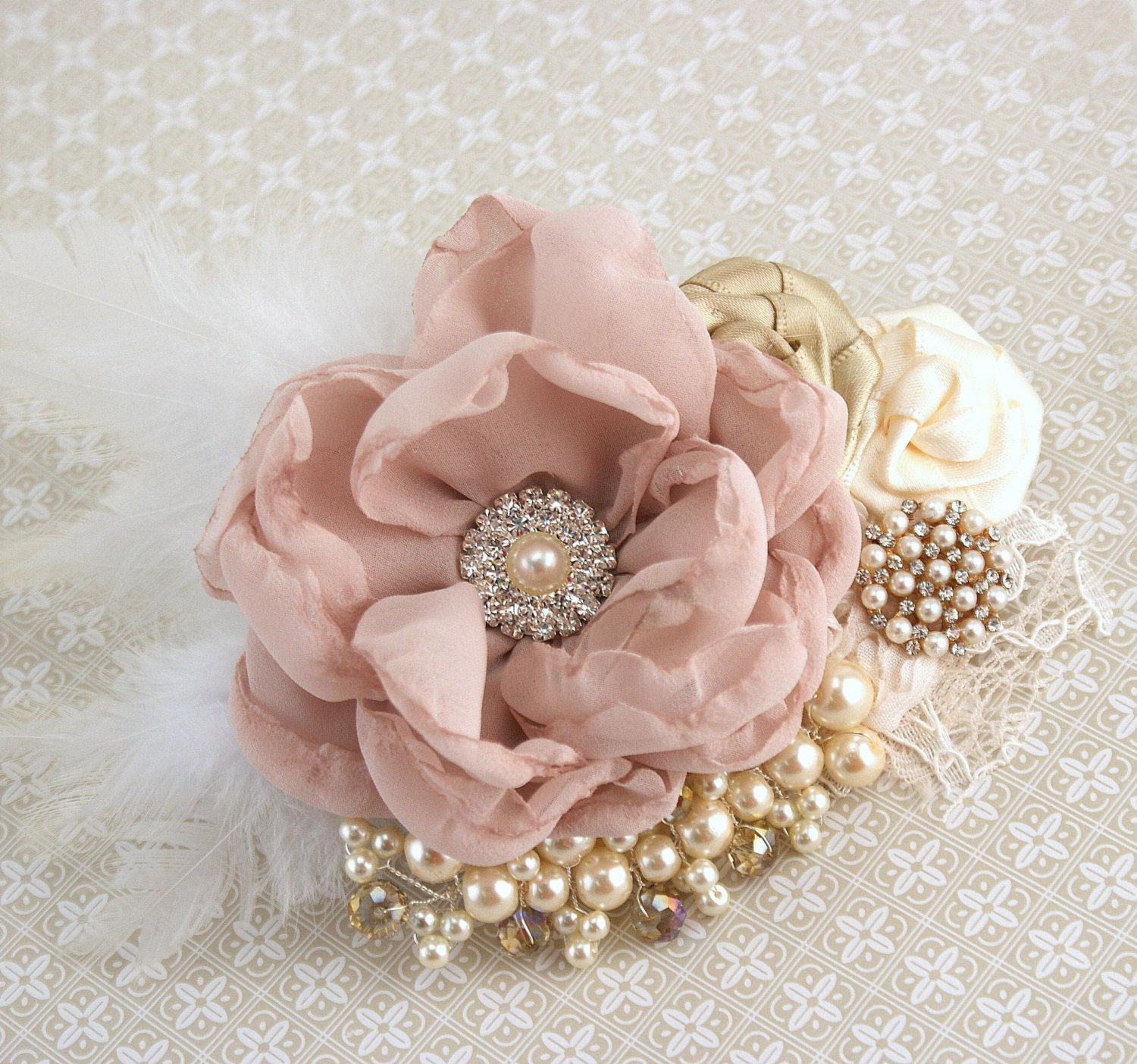 Wedding Hair Clip Dusty Rose Gold Bridal Fascinator With
