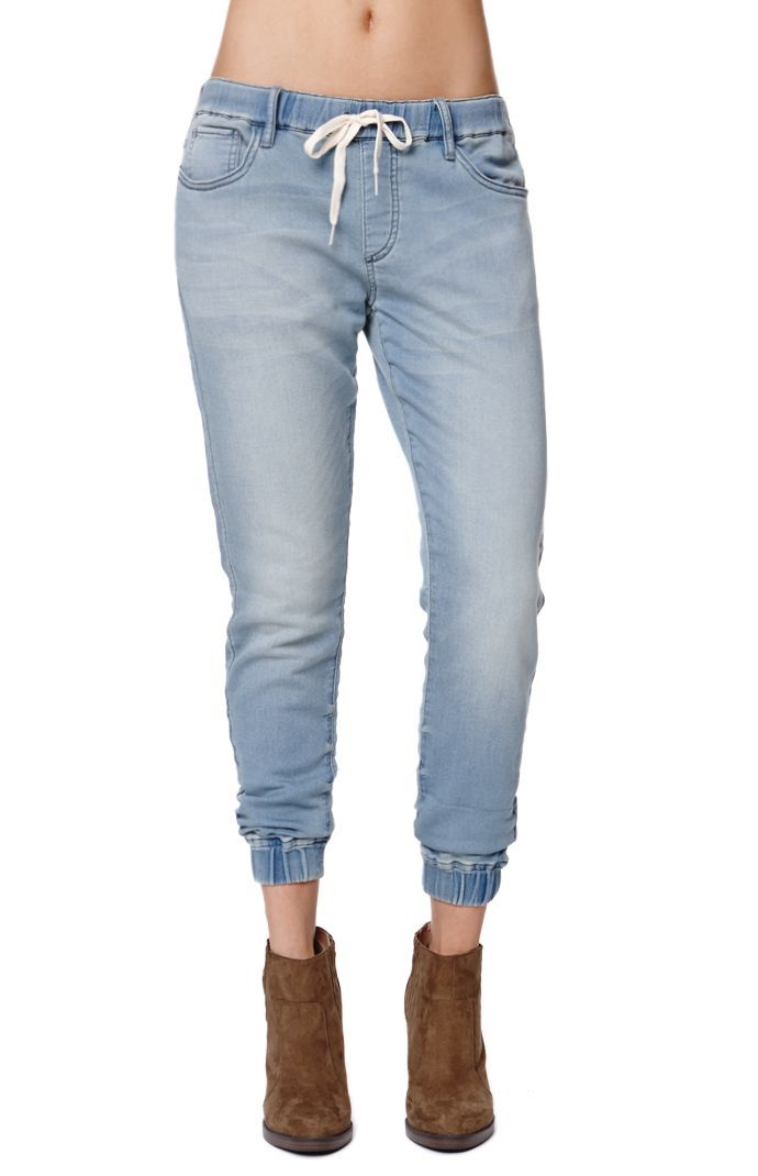 The women s Knit Jean Jogger Pants by Bullhead Denim Co for PacSun and  PacSun.com offer a chic faded wash throughout and a tie waistband. 5e1c20f1d100