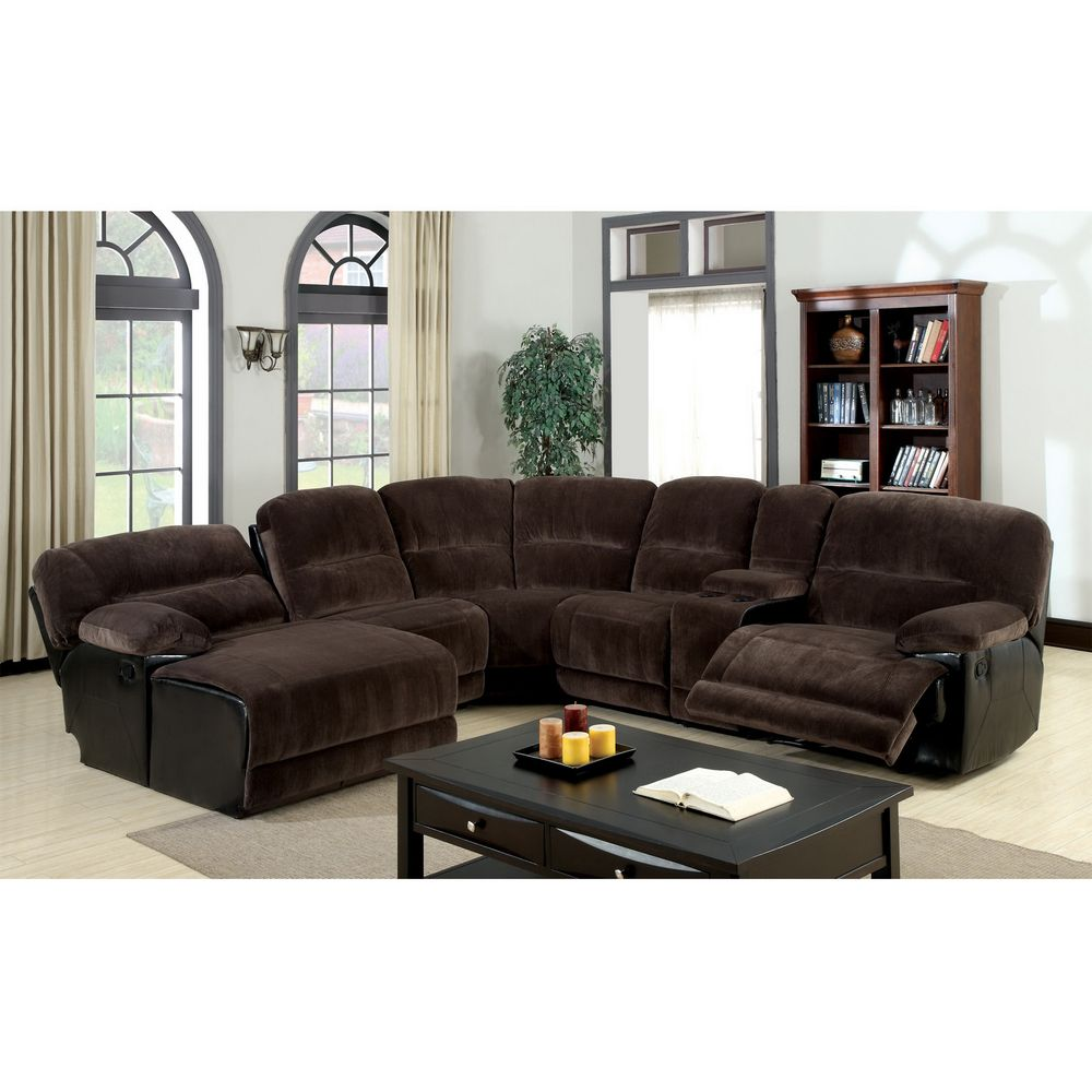Furniture Of America Cyclopean Dark Brown Microfiber Sectional With Reclining Chaise Ping S On