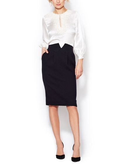 Wool Notch Pencil Skirt by Oscar de la Renta at Gilt