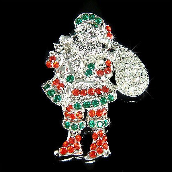 Santa Claus 2020 Holiday Christmas Swarovski Crystal Swarovski Crystal Santa Claus Green Red Gift Bag Sack Pin Brooch